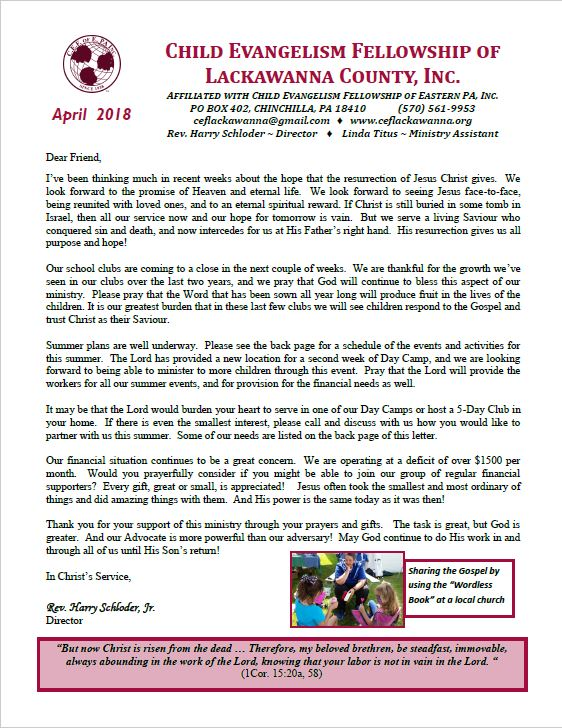 Our April 2018 Newsletter has been released  – Child